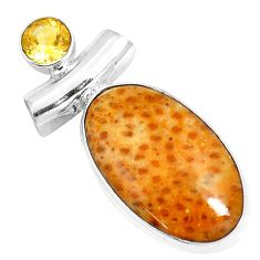925 silver 14.72cts natural multi color plum wood jasper citrine pendant m91377