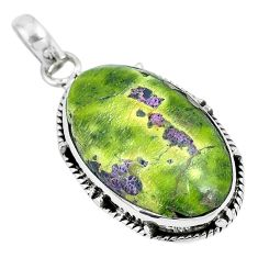 13.70cts natural green atlantisite stichtite-serpentine silver pendant m91401