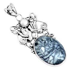 18.47cts natural white pinolith pearl 925 silver love birds pendant m91422