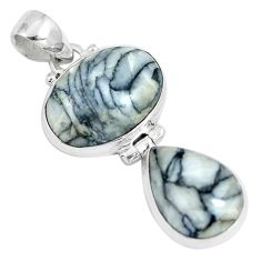 925 sterling silver 17.55cts natural white pinolith oval pendant jewelry m91423