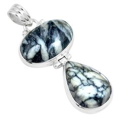 20.07cts natural white pinolith 925 sterling silver pendant jewelry m91429