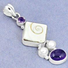 Natural white shiva eye amethyst pearl 925 sterling silver pendant m9146