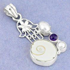 Natural white shiva eye pearl 925 silver hand of god hamsa pendant m9147