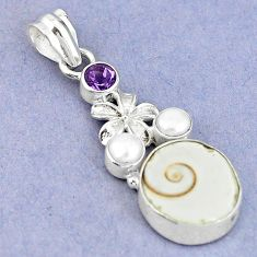 925 silver natural white shiva eye amethyst pearl flower pendant m9157