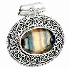 12.64cts natural faceted fluorite 925 sterling silver pendant jewelry m91982