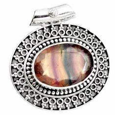 15.03cts natural faceted fluorite 925 sterling silver pendant jewelry m91985