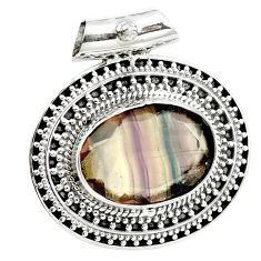 13.54cts natural faceted fluorite 925 sterling silver pendant jewelry m91993