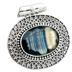 17.54cts natural faceted fluorite 925 sterling silver pendant jewelry m91994