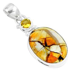 15.02cts natural yellow brecciated mookaite 925 silver pendant jewelry m92881