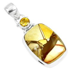 925 sterling silver 16.73cts natural yellow brecciated mookaite pendant m92884