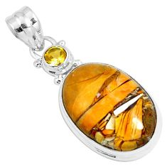 17.22cts natural yellow brecciated mookaite 925 silver pendant m92888