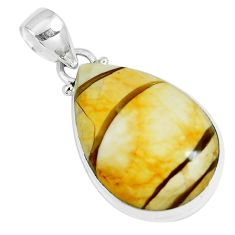 925 silver 16.65cts natural yellow brecciated mookaite pear pendant m92899