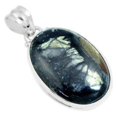 18.15cts natural black picasso jasper 925 sterling silver pendant jewelry m92921