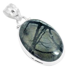 16.20cts natural black picasso jasper 925 sterling silver pendant jewelry m92928