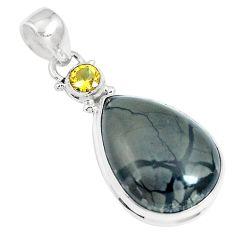 19.23cts natural black picasso jasper citrine 925 sterling silver pendant m92943
