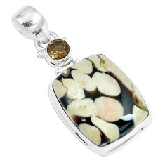 19.72cts natural brown peanut petrified wood fossil 925 silver pendant m92945