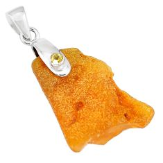 13.63cts natural yellow amber bone citrine 925 silver pendant jewelry m93204