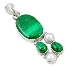 925 silver natural green malachite (pilot's stone) pearl pendant jewelry m9551