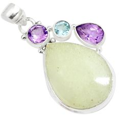 21.48cts natural libyan desert glass amethyst topaz 925 silver pendant m95529