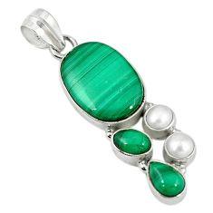 Natural green malachite (pilot's stone) pearl 925 silver pendant jewelry m9553