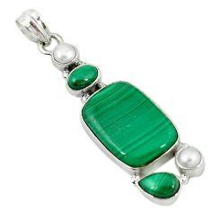 Natural green malachite (pilot's stone) pearl 925 sterling silver pendant m9557
