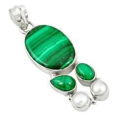 925 silver natural green malachite (pilot's stone) pearl pendant jewelry m9558
