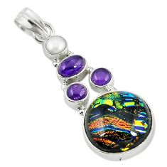 Multi color dichroic glass amethyst pearl 925 sterling silver pendant m9582