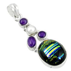Multi color dichroic glass amethyst pearl 925 sterling silver pendant m9587