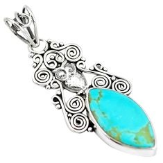 10.32cts natural blue kingman turquoise 925 sterling silver owl pendant m96087