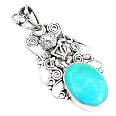 11.23cts natural kingman turquoise 925 silver cupid angel wings pendant m96112