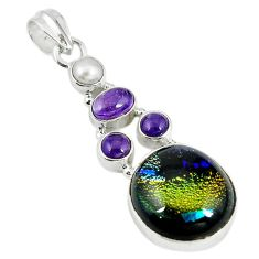 Multi color dichroic glass amethyst pearl 925 sterling silver pendant m9619