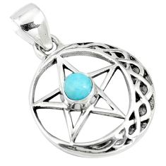 0.90cts natural blue larimar 925 sterling silver star of david pendant m96541