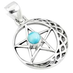 0.85cts natural blue larimar 925 sterling silver star of david pendant m96542