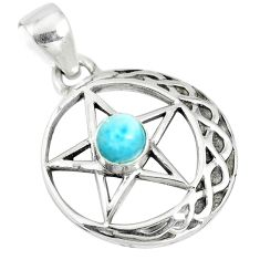 0.85cts natural blue larimar 925 sterling silver star of david pendant m96543
