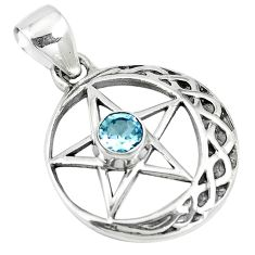 0.78cts natural blue topaz 925 sterling silver star of david pendant m96548