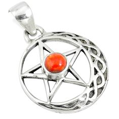 925 sterling silver 0.85cts red copper turquoise star of david pendant m96552