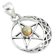 0.85cts natural multi color ethiopian opal silver star of david pendant m96558
