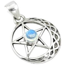 925 silver 0.85cts natural rainbow moonstone star of david pendant m96560
