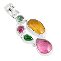 925 sterling silver 12.03cts natural multi color tourmaline fancy pendant m96715