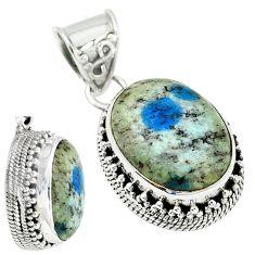 925 sterling silver natural k2 blue (azurite in quartz) pendant jewelry m9684
