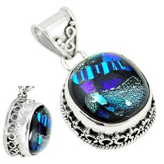 Multi color dichroic glass 925 sterling silver pendant jewelry m9685