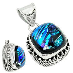 Multi color dichroic glass 925 sterling silver pendant jewelry m9686