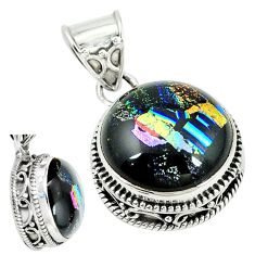 Multi color dichroic glass 925 sterling silver pendant jewelry m9687