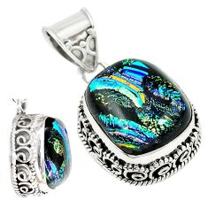 925 sterling silver multi color dichroic glass pendant jewelry m9700