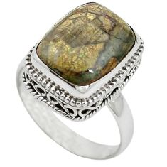 Natural brown mushroom rhyolite 925 sterling silver ring size 9 m1256