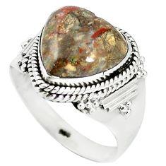 Heart natural brown mushroom rhyolite 925 sterling silver ring size 9.5 m1281