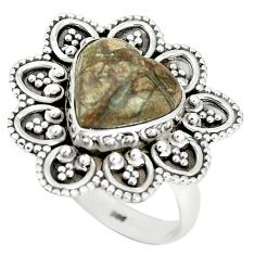 Heart natural brown mushroom rhyolite 925 sterling silver ring size 8.5 m1282