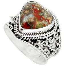 Natural brown heart mushroom rhyolite 925 sterling silver ring size 8 m1295