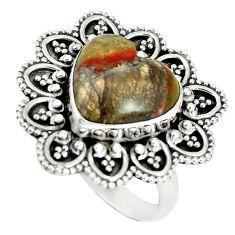 Natural brown heart mushroom rhyolite 925 sterling silver ring size 8.5 m1298