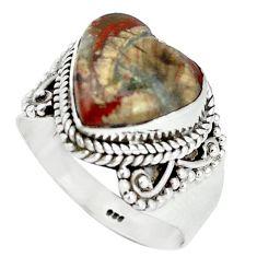 Natural brown heart mushroom rhyolite 925 sterling silver ring size 8 m1299